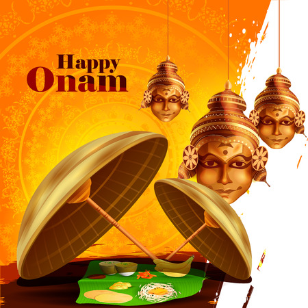 easy to edit vector illustration of Happy Onam  holiday for South India festival background Vettoriali