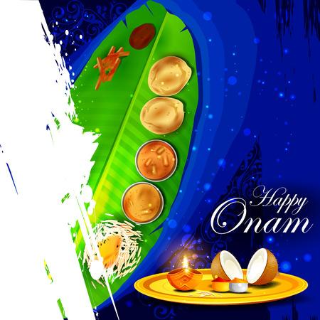 sravanmahotsav: easy to edit vector illustration of Happy Onam  holiday for South India festival background Illustration