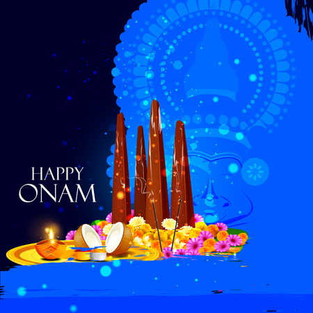 offerings: easy to edit vector illustration of Happy Onam  holiday for South India festival background Illustration
