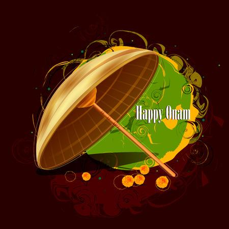 malayalam: easy to edit vector illustration of Happy Onam  holiday for South India festival background Illustration