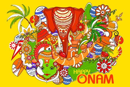 easy to edit vector illustration of Happy Onam  holiday for South India festival background Illustration
