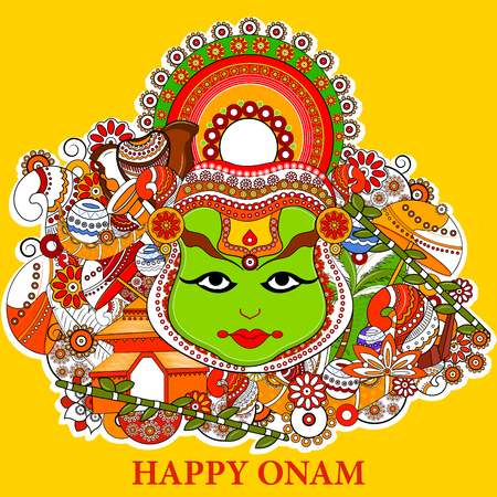 kerala culture: easy to edit vector illustration of Happy Onam  holiday for South India festival background Illustration