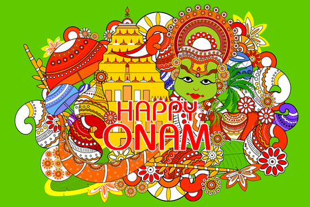 pookolam: easy to edit vector illustration of Happy Onam  holiday for South India festival background Illustration