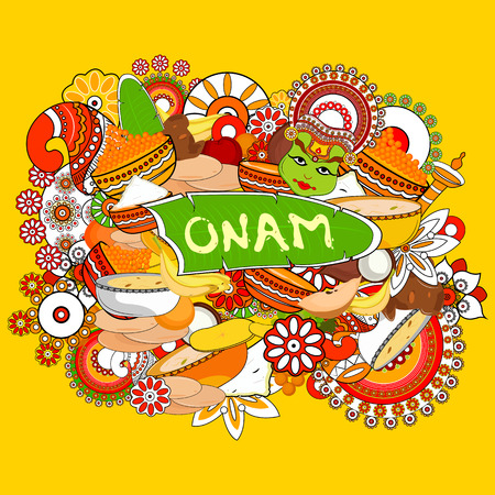 auspicious occasions: easy to edit vector illustration of Happy Onam  holiday for South India festival background Illustration