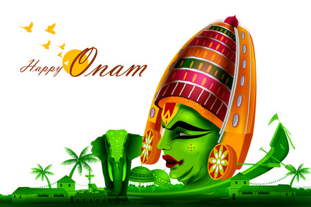 kathakali: easy to edit vector illustration of Happy Onam  holiday for South India festival background Illustration