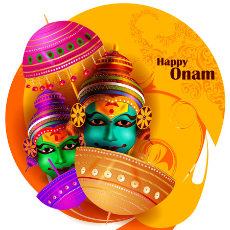 south india: easy to edit vector illustration of Happy Onam  holiday for South India festival background Illustration