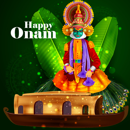 indian culture: easy to edit vector illustration of Happy Onam  holiday for South India festival background Illustration