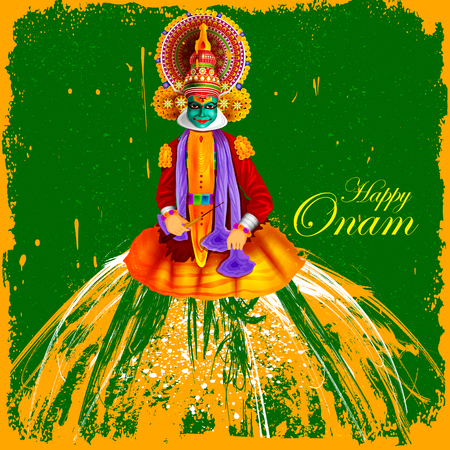 auspicious: easy to edit vector illustration of Happy Onam  holiday for South India festival background Illustration