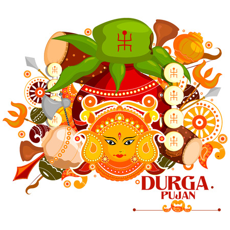 puja: easy to edit vector illustration of Happy Durga Puja India festival holiday doodle background Illustration