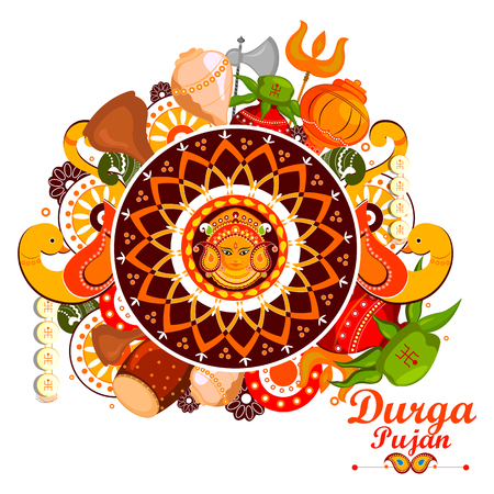 bengal: easy to edit vector illustration of Happy Durga Puja India festival holiday doodle background Illustration