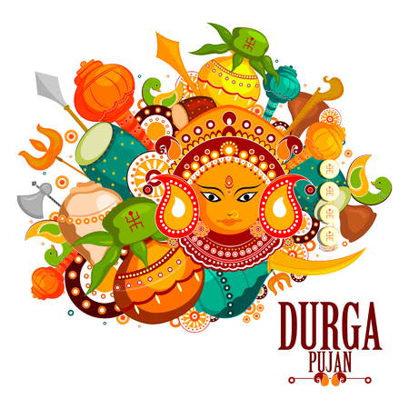 auspicious: easy to edit vector illustration of Happy Durga Puja India festival holiday doodle background Illustration