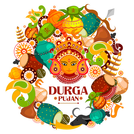 durga: easy to edit vector illustration of Happy Durga Puja India festival holiday doodle background Illustration