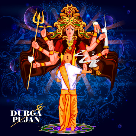 auspicious: easy to edit vector illustration of Happy Durga Puja India festival holiday background