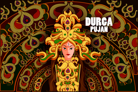 auspicious element: easy to edit vector illustration of Happy Durga Puja India festival holiday background