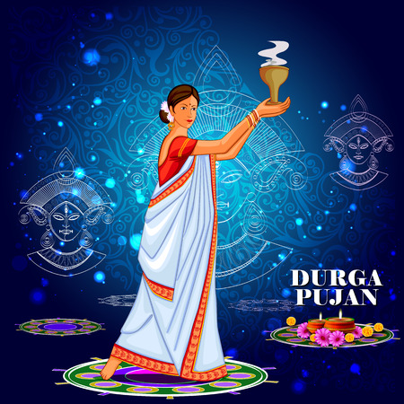 bengali: easy to edit vector illustration of ladies dancing with dhunuchi for Happy Durga Puja India festival holiday background Illustration