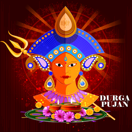 puja: easy to edit vector illustration of Happy Durga Puja India festival holiday background