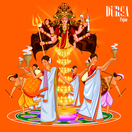 puja: easy to edit vector illustration of ladies dancing with dhunuchi for Happy Durga Puja India festival holiday background Illustration