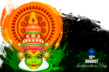 hindustan: easy to edit vector illustration of Kathakali dancer face on Indian Independence Day celebration background