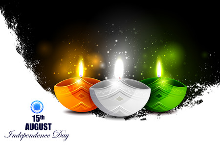hindustan: easy to edit vector illustration of Tricolor Diya on Indian Independence Day celebration background Illustration