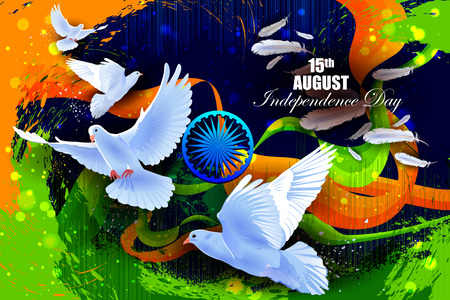 hindustan: easy to edit vector illustration of Flying Dove on Indian Independence Day celebration background Illustration