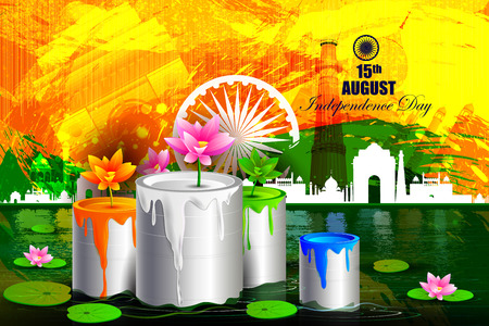 hindustan: easy to edit vector illustration of Monument and Landmark on Indian Independence Day celebration background