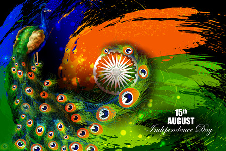 indian animal: easy to edit vector illustration of Indian Independence Day celebration background