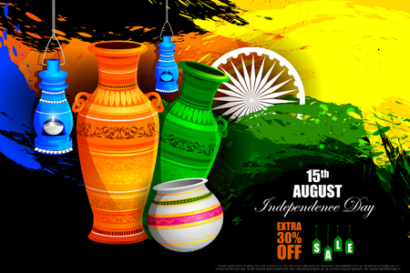 hindustan: easy to edit vector illustration of Tricolor Pot on Indian Independence Day celebration Advertisement background Illustration