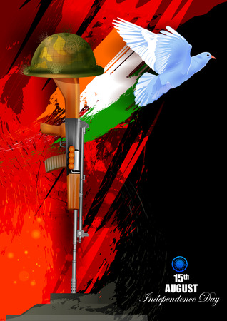 national: easy to edit vector illustration of Flying Dove on Indian Independence Day celebration background Illustration