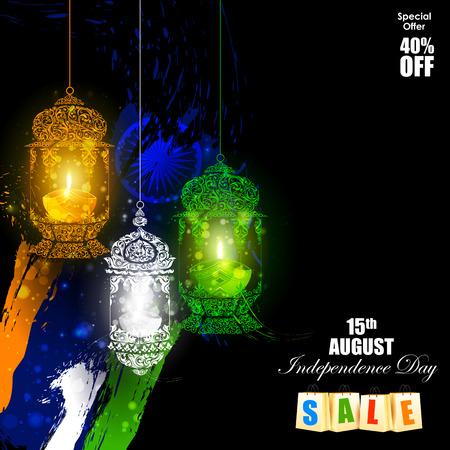 tricolor: easy to edit vector illustration of Tricolor Diya on Indian Independence Day celebration background Illustration