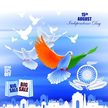 easy to edit vector illustration of Flying Dove on Indian Independence Day celebration Advertisement background