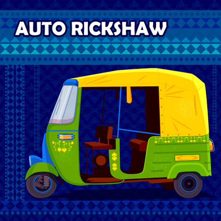 kitsch: easy to edit vector illustration of Indian Auto Rickshaw representing colorful India Illustration