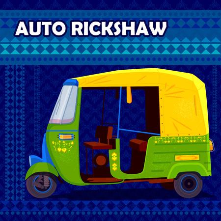 autorick: easy to edit vector illustration of Indian Auto Rickshaw representing colorful India Illustration
