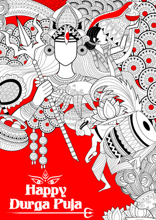 mahishasura: illustration of goddess Durga in Happy Dussehra background