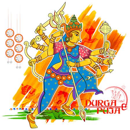 devi: illustration of goddess Durga in Subho Bijoya Happy Dussehra background