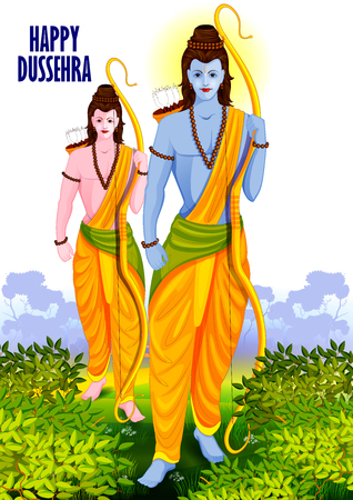 occassion: easy to edit vector illustration of Lord Rama and Laxmana in Happy Dussehra background showing festival of India