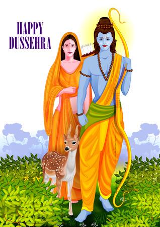 facile à modifier illustration du Seigneur Rama et Sita à Happy fond Dussehra montrant Festival de l'Inde
