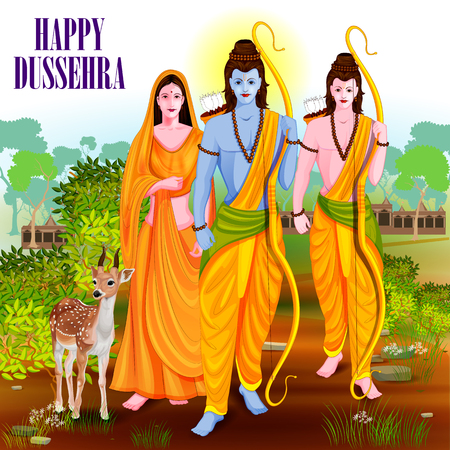 sita: easy to edit vector illustration of Lord Rama Laxmana and Sita in Happy Dussehra background showing festival of India Illustration