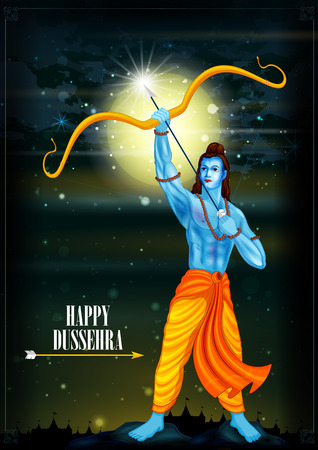 occassion: easy to edit vector illustration of Rama killing Ravana in Happy Dussehra background showing festival of India