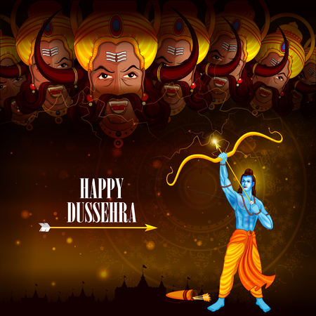 easy to edit vector illustration of Rama killing Ravana in Happy Dussehra background showing festival of India