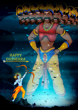 dharma: easy to edit vector illustration of Rama killing Ravana in Happy Dussehra background showing festival of India