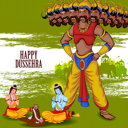rama: easy to edit vector illustration of Rama and Laxmana praying Shiva for killing Ravana in Happy Dussehra background showing festival of India Illustration