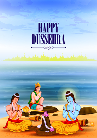 ramayan: easy to edit vector illustration of Lord Rama with Laxmana and Hanuman in Happy Dussehra background showing festival of India