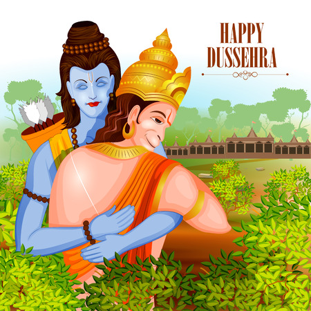 hinduismo: fácil de editar ilustración vectorial del Señor Rama y Hanuman en el fondo feliz mostrando Dussehra festival de la India