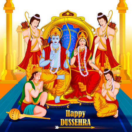 the ramayana: easy to edit vector illustration of Lord Rama Sita with Laxmana and Hanuman in Happy Dussehra background showing festival of India