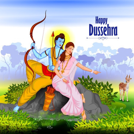 the ramayana: easy to edit vector illustration of Lord Rama and Sita in Happy Dussehra background showing festival of India