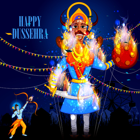 rama: easy to edit vector illustration of Rama killing Ravana in Happy Dussehra background showing festival of India