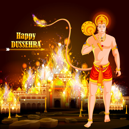 dharma: easy to edit vector illustration of Lord Hanuman Lanka Dahan  in Happy Dussehra background showing festival of India
