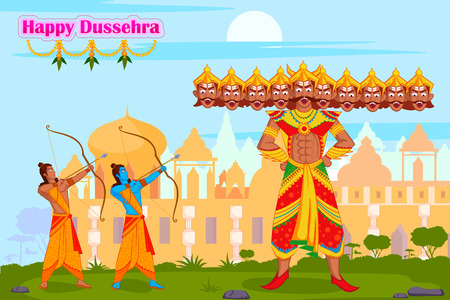 occassion: Rama killing Ravana during Dussehra in vector