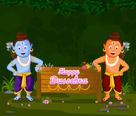 rama: Lord Rama and Laxmana wishing Happy Dussehra in vector