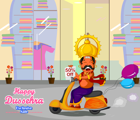 wishing: Ravana wishing Happy Dussehra offer riding on scooter in vector Illustration